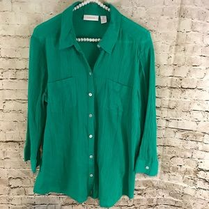 Chico's Women's Green Size 2 Button Front Shirt